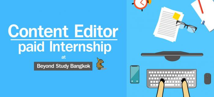Content Editor - paid Internship at Beyond Study Bangkok